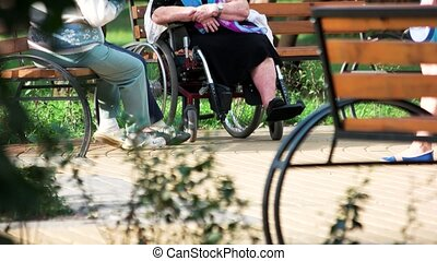 Old people talking sitting on bench.