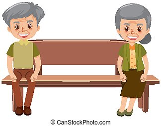 Old people with social distancing