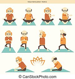 Old people yoga. Vector icons isolated