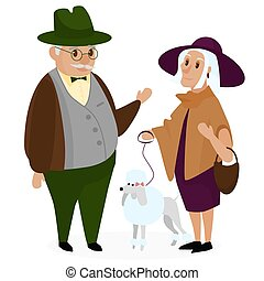 Old peple couple with a dog poodle. Happy grandparents together isolated. Grandpa and grandma. Senior Elderly couple. Cartoon vector illustration.