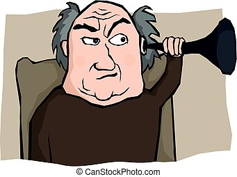 An old man tries to hear something with his hearing trumpet