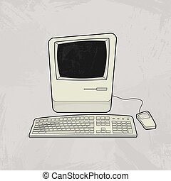 Retro computer monitor vector  old classic desktop personal computer
