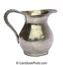 Old pewter jug - Antique old pewter pitcher isolated on...