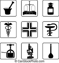 Old Pharmacy - Old pharmacy objects in a nine square grid