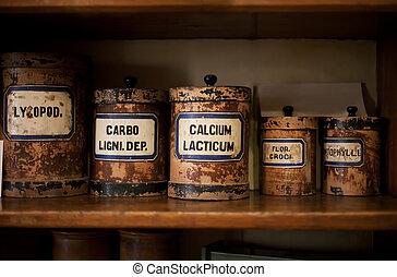 Old pharmacy - Bottles on the shelf in old pharmacy