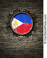Old Philippines flag in brick wall