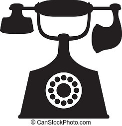 Old Phone - A silhouette image of a vintage telephone