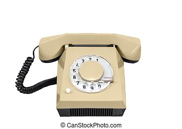 Old phone against white isolated background