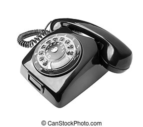 Old phone - Black old phone isolated on white background