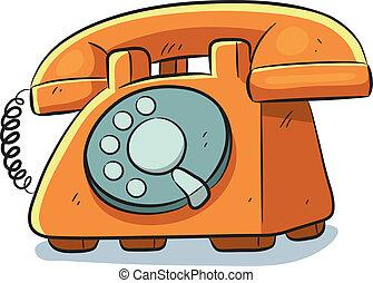 Old Phone - cartoon illustration of old vintage phone