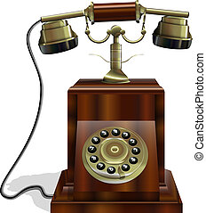 Old Phone - Vintage Telephone with wooden body and a gold...