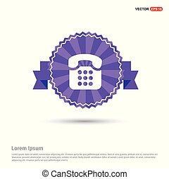 Old phone icon. - Purple Ribbon banner