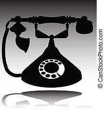 old phone in black illustration