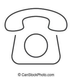 Old phone thin line icon, contact us and telephone, retro sign, vector graphics, a linear pattern on a white background, eps 10.