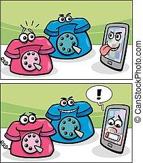 old phones and smart phone comics - Cartoon Illustration of...