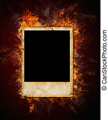Old photo - Burning grunge empty photo in fire