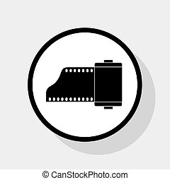 Old photo camera casset sign. Vector. Flat black icon in white circle with shadow at gray background.