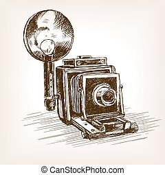 Old photo camera sketch style vector illustration - Old...