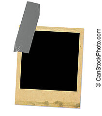 old photo frame taped, minimal shadow behind