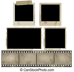 Old Photo Frames - Old photo frames and film strip on white...
