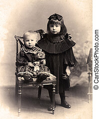 Old photo - Sister and brother.The shot was taken around...
