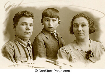 Vintage portrait, family of the cossacks,1951 year, Russia.