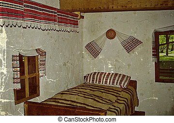 Old photo with Romanian traditional home interior 1