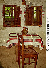 Old photo with Romanian traditional home interior 3