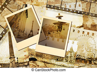 old photoalbum -Paris, with blank frames
