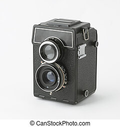 Old photocamera - Two lens reflex old photo camera isolated ...