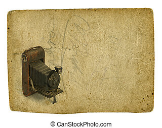 Old photographic camera on vintage background - Old...