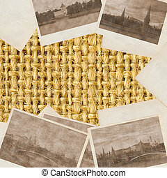 Old photos of city Moscow on the beige wattled surface