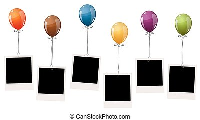 old photos with balloons - six old empty photos hanging on...