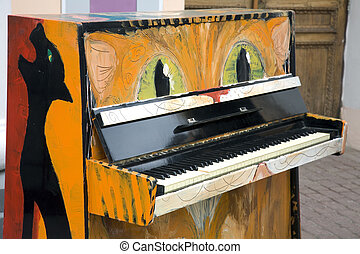 Old piano in the street