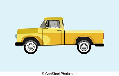 old pickup yellow on a blue background