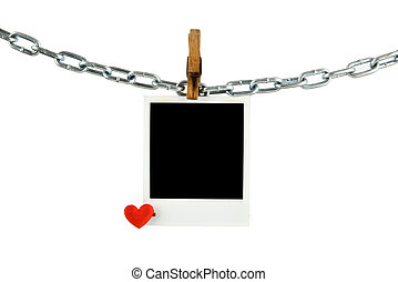 old picture with a heart on a white background