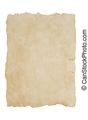 Old piece of paper on an isolated white background mock up