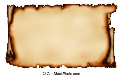 Stock illustration of an Old piece of parchment with torn burnt edges yellowish vintage paper background isolated on white with a clipping path