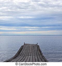 Old pier on nice lake