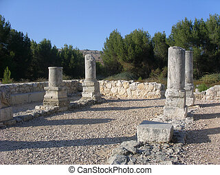 pillars in ruins of ancient jewish synagouge