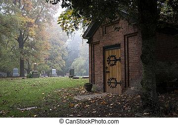 Old Pioneer Cemetery in fog
