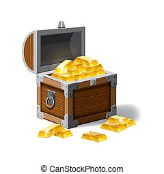 Old pirate chest full of gold bars, vector, cartoon style, illustration, isolated. For games, advertising applications