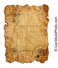 Old Pirate Map - Worn Wrinkled and Ripped Old Brown Paper...