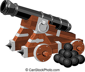 Old pirate ship cannon and cannon balls