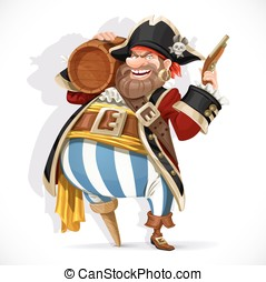 Old pirate with a wooden leg holding a keg of rum and pistol...