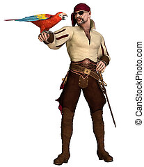 Old Pirate with Parrot - Old pirate with eye patch and...