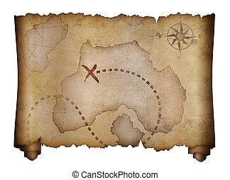old pirates treasure map scroll
