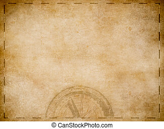 Old pirates treasure map with compass