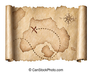 old pirates treasure scroll map isolated