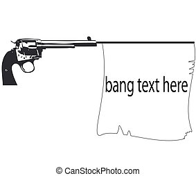 old pistol with flag gun with banner ribbon vector illustration